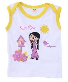 Chhota Bheem Sleeveless Tee Chutki Print - White And Yellow