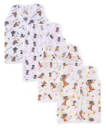 Chhota Bheem Sleeveless Vest Allover Print Pack Of 4 - White & Multicolor