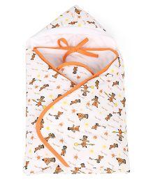 Chhota Bheem Hooded Wrapper - White and Orange