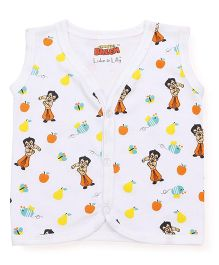 Chhota Bheem Printed Sleeveless Vest - White