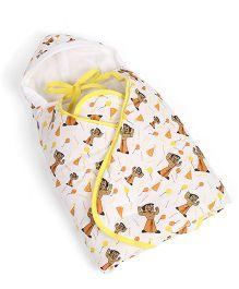 Chhota Bheem Hooded Wrapper - White & Yellow