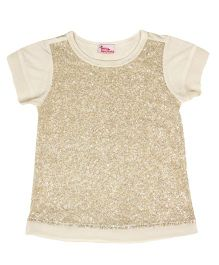 Teeny Tantrums Front Sequenced Top With A Overlay Of Net - Off White