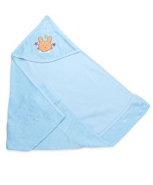 Babyhug Solid Color Hooded Towel With Patch - Aqua Blue