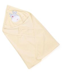 Babyhug Solid Color Hooded Towel With Patch - Lemon