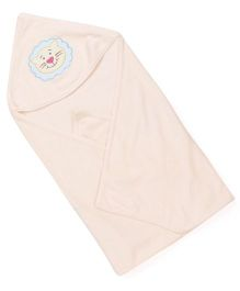 Babyhug Solid Color Hooded Towel With Lion Patch - Peach