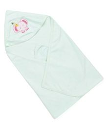 Babyhug Solid Color Hooded Towel With Elephant Patch - Pista