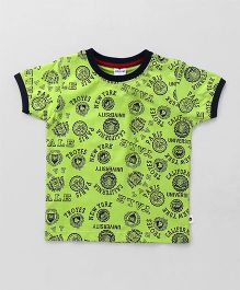 Ollypop Half Sleeves T-Shirt Multi Print - Green