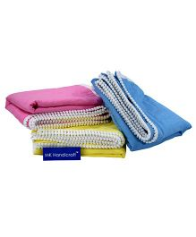 MK Handicraft Lacy Cotton Kantha Sheets Pack of 3 - Pink Yellow Blue