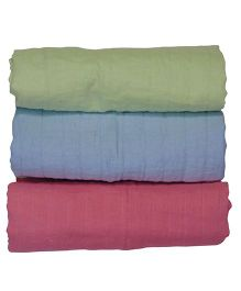 MK Handicraft Kantha Sheets Pack Of 3 - Green Blue Pink