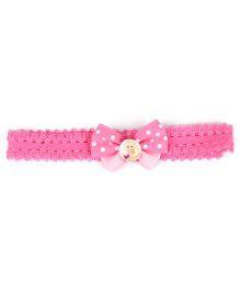 Stol'n Bow Applique Headband Dot Print - Pink
