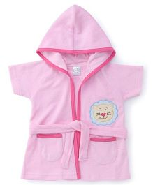 Babyhug Half Sleeves Hooded Bathrobe - Pink