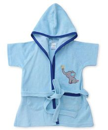 Babyhug Half Sleeves Hooded Bathrobe - Light Blue