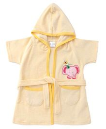 Babyhug Half Sleeves Hooded Bathrobe - Light Yellow