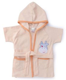 Babyhug Half Sleeves Hooded Bathrobe - Peach