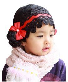 NeedyBee Bow Knot Embroidery Princess Headband - Black & Red