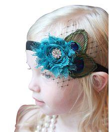 NeedyBee Peacock Feather With Flower Embellished Headband - Multicolour