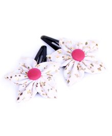 Pigtails And Ponys Flower Shaped Hair Clips - White & Gold