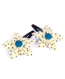 Pigtails And Ponys Arrow Print Flower Hair Clips - White & Blue