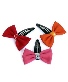 Pigtails And Ponys Set Of 3 Bow Hair Clips - Red Orange & Pink
