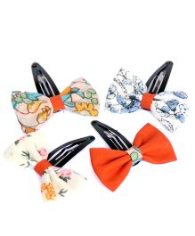 Pigtails And Ponys Set Of 4 Floral Bow Hair Clips - Multicolour
