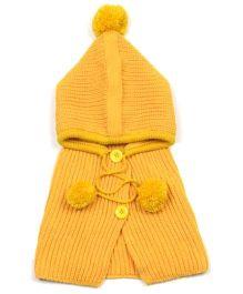 Princess Cart Pom Pom Winter Cloak - Yellow