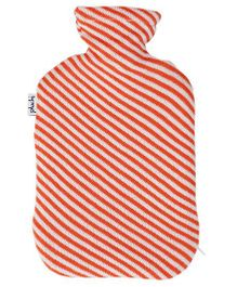 Pluchi Diagonal Stripes Knitted Hot Water Bottle Cover - Orange