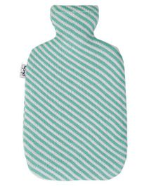 Pluchi Diagonal Stripes Knitted Hot Water Bottle Cover - Green