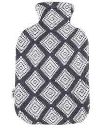 Pluchi Asymmetric Print Knitted Hot Water Bottle Cover - Grey