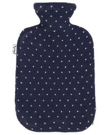 Pluchi Heart Printed Knitted Hot Water Bottle Cover - Blue