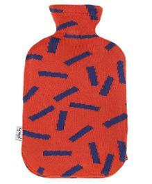 Pluchi Printed Knitted Hot Water Bottle Cover - Red