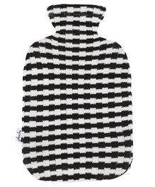 Pluchi Stripes Knitted Hot Water Bottle Cover - Black