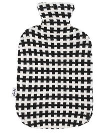 Pluchi Cross Printed Knitted Hot Water Bottle Cover - Black & White