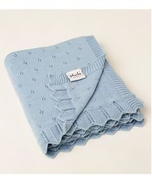 Pluchi Cotton Knitted Aria Blanket - Blue