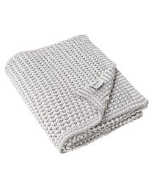 Pluchi The Mesh Knitted Throw Blanket - Grey