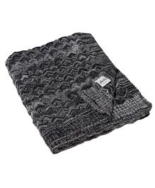 Pluchi Bubbles Knitted Throw Blanket - Black