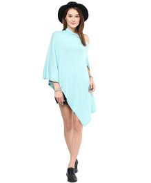 Pluchi Fashion Knitted Cotton Poncho Rosette - Blue