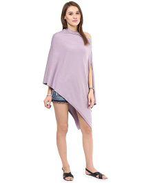 Pluchi Fashion Knitted Cotton Poncho Rosette - Purple