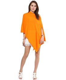 Pluchi Fashion Knitted Cotton Poncho Rosette - Orange