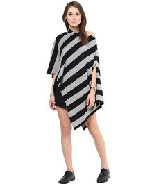 Pluchi Cotton Knitted Poncho Cape Wrap Top Hannah - Black