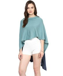 Pluchi Cotton Knitted Poncho Cape Wrap Top Sabrina - Blue