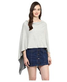 Pluchi Cotton Knitted Poncho Cape Wrap Top Sabrina - Grey