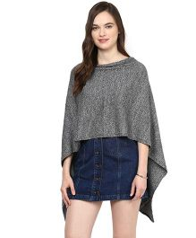 Pluchi Cotton Knitted Poncho Cape Wrap Top Sabrina - Charcoal Grey