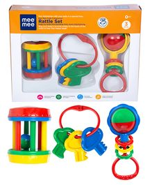 Mee Mee Rattle Set Set Of 3 (Color May Vary)