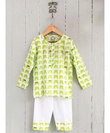 Frangipani Kids Frog Prince Print Tee & Pyjama Set - Lime Green