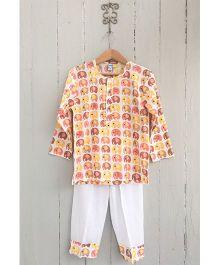Frangipani Kids Elephant Park Print Tee & Pyjama Set - Orange