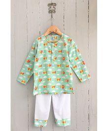 Frangipani Kids Airplane Print Tee & Pyjama Set - Green
