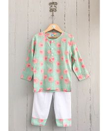 Frangipani Kids Flying Piggies Print Tee & Pyjama Set - Green