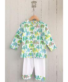 Frangipani Kids Emerald Elephants Print Tee & Pyjama Set - Green