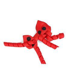 Stol'n Bow Hair Clip Polka Dots Print - Red And Black