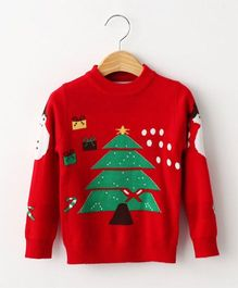 Cherubbaby Christmas Tree With Snowman Print Pullover - Red